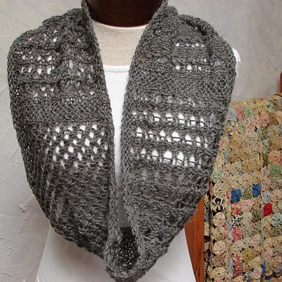 Pattern Lace Cowl knit in the round Lace Cowl by TerrificCreations