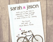 Wedding Invitation Suite - Custom Invite - Budget Bride - Printed Wedding Invitation - RSVP - Set - Birds in Bike / No 37