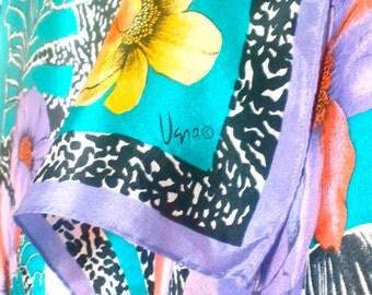 Hawaiian Punch - a vintage 1980's hand-painted Vera Neumann pure silk scarf -  tout soie - 29 inches