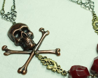 SALE - Pirate Skull and Jade in Burgundy and Mixed Metal Necklace - SAVE 6