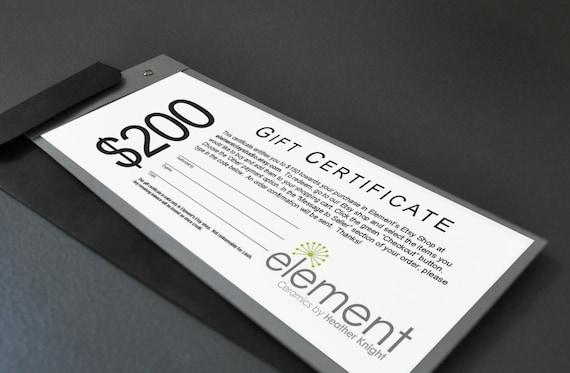 200 Dollar Gift Certificate - Wedding Gift, Anniversary Present, Birthday Gift