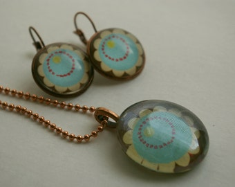 Copper Flower Earring and Necklace Set