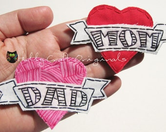 Mom Patch,I love Mom Heart Tattoo Applique, Heart Tattoo,I Love Dad Heart Tattoo Applique,Fabric Heart,Baby Tattoo,Small,Made to Order,Patch