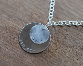 Layered disk silver necklace - Large chain