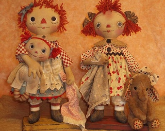 Favorite Things E-PATTERN Standing Primitive Raggedy dolls and Elephant