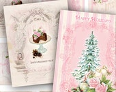 Digital Collage Sheet Pretty Christmas Pink Mixed Media Altered Art ACEO ATC