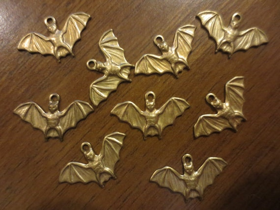 Lot of 9 Aged Brass Bat Jewelry Making Finding Charms