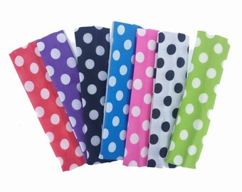 CLEARANCE - 7 pieces - Sampler Pack Polka Dot Nylon Knit Headbands - DIY Hair Craft Wholesale