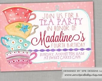 Tea Party Birthday Party Invitation -- Sweet as Tea