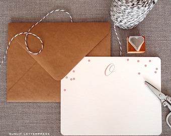 Custom Letterpress Note Cards - Set of 50 w/Kraft Envelopes - Confetti Monogram Design