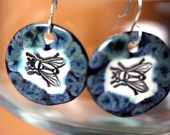 Fly Ceramic Earrings in Iridescent Black
