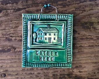 Gather Here Home Tile in Forest Green
