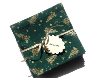 Christmas Cocktail Napkins Cloth Appetizer Napkins Fabric Coasters Holiday Dark Green Gold Christmas Green Party Napkins - set of 6