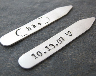 Custom Anniversary Date Collar Stays, wedding date, grooms gift, gift for groom, Anniversary gift, gifts for him, Valentine's Day gift