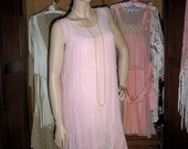 On Sale For 200.00 Was 398.00  1920s  Dress /Gatsby Flapper Pink Silk Chiffon Dress With A Lovely Beaded Skirt