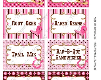 Printable Cowgirl Birthday Food Labels