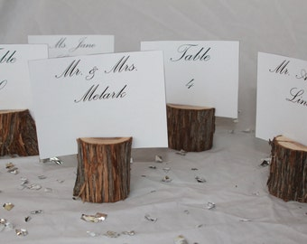 Wood Place Card Holders, Wood Table Number Holders- Set of 25- rustic wedding decor, outdoor wedding, nature party, green wedding