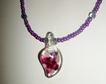 handmade lampwork glass pendant necklace