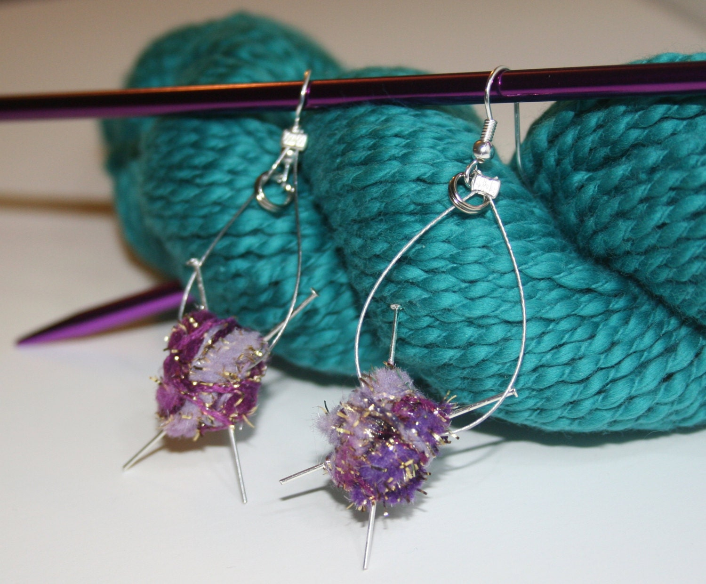 Knitting Stitches Yarn Round Needle : knitting needle earrings with yarn
