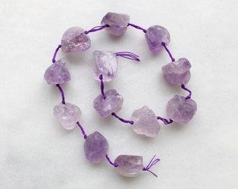 "Rough Amethyst Gemstone Nugget Beads - 15"" strand"