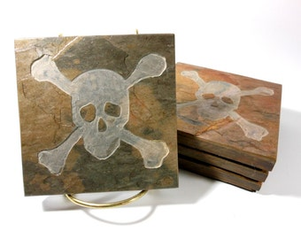 Stone Coasters: Jolly Rodger Coasters - 4 Etched Slate Coasters, Skull and Cross Bones Coasters, Carved Slate Coasters, Pirate Coasters Gift