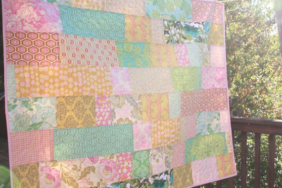 Custom Patchwork Crib Quilt.  For Newborn Baby or Toddler. Gender Neutral, or Your Choice of Colors.  One of  Kind, Professionally Quilted.