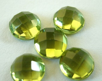 Gemstone Cabochons Peridot Checkerboard 6mm FOR ONE