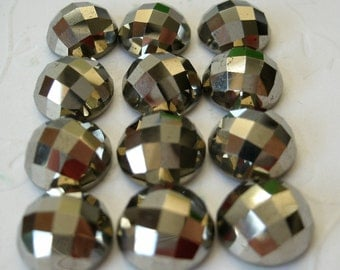 Gemstone Cabochons Pyrite Checkerboard 10mm FOR ONE