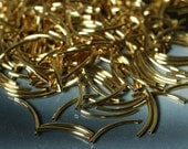 Closeout 36 pcs Bead, gold-plated brass, 15.5x1mm curved tube (item ID F2751MB)