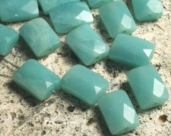 Amazonite (natural) faceted rectangle 10x8mm, 6 pcs (item ID L0901AFR14)