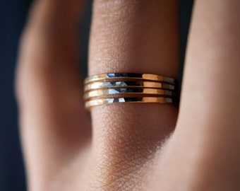 14K Solid Gold Stacking Ring SET of 4 rings, medium thickness, gold stack ring, hammered gold ring, gold stacking ring set, stackable rings