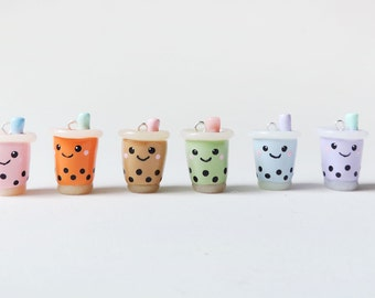 Polymer Clay Bubble Tea Necklace Boba Drink Charm