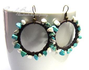 Hippie Boho Earrings, Blue and White Turquoise Waxed Cord Earrings