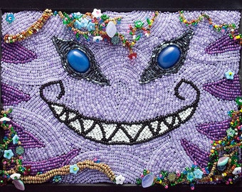 Mischievous Grin // Bead Embroidered Painting // Mixed Media