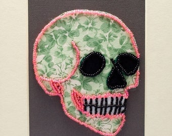 Bead Embroidered Skull // Green and Pink // Flower Flower // Seed Bead // Mixed Media Art // Beaded Painting