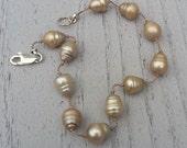 Gold Colored Pearl Bracelet, Floating Tin Cup Design, Baroque Pearls, Light Bracelet