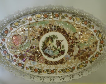 VINTAGE ROMANCE victorian courting scene romantic broken china mosaic carnival glass vanity tray