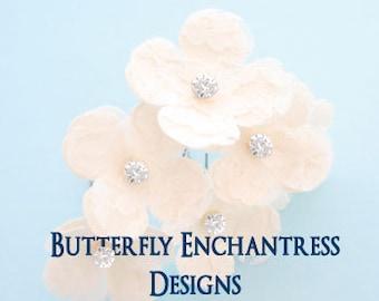 Ivory Wedding Headpiece, Rustic Woodland Bridal Hair Flowers - 6 Vintage-Inspired Lace Hydrangea Hair Pins - Rhinestone Centers