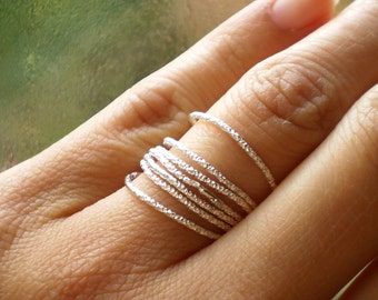 Simply Celestial - Skinny Stacked Faceted Twinkly Sterling Silver Rings - Lucky Set of 7