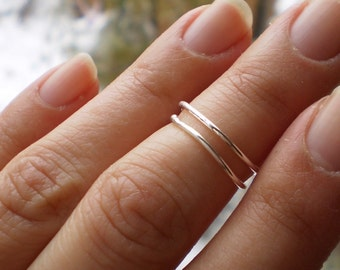 DUO - Two Simple Rustic Knuckle Midi Fingertip Rings - Sterling Silver 14K Gold Filled or Rose Gold Filled