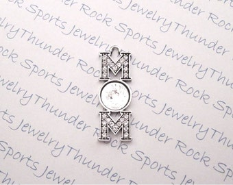 Antique Silver Plated Mom Crystal Pendant Blank with 10mm Round Bezel with or without Glass in the Quantity of Your Choice