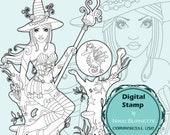 Digital Stamp - Printable Coloring Page - Fantasy Art - Witch Stamp - Alondra and Medwin - by Nikki Burnette - COMMERCIAL USE