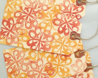 Orange Spice Swirl Hand Stamped Tags