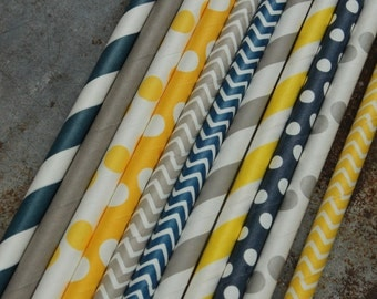 Party Straws -- set of 25 -- Navy and Yellow - Boy Theme Paper Drinking Straws