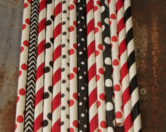 Gamecocks Party Straws - Set of 25 - black,  dots, stripes, chevron