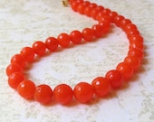 Orange stone necklace bright SALE HALF PRICE