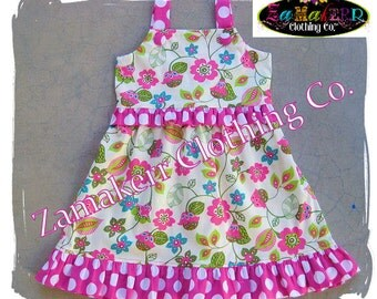 Custom Boutique Clothing Cute Girl Pink Dot Floral Spring Aline Jumper Ruffle Dress Size 3 6 9 12 18 24 month size 2T 2 3T 3 4T 4 5T 5 6 7 8
