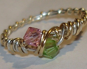 Birthstone Mothers Ring crystals