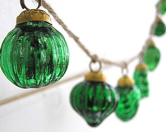 SALE! Featured in Romantic Homes Magazine!  Hand Strung Mercury Glass Holiday Ornament Garland (Green)
