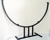 Black 20 Inch Half Moon Metal Stand Fused or Stained Glass Display Stand